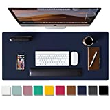 Leather Desk Pad Protector,Mouse Pad,Office Desk Mat,Non-Slip PU Leather Desk Blotter,Laptop Desk Pad,Waterproof Desk Writing Pad for Office and Home(Dark Blue,31.5' x 15.7')