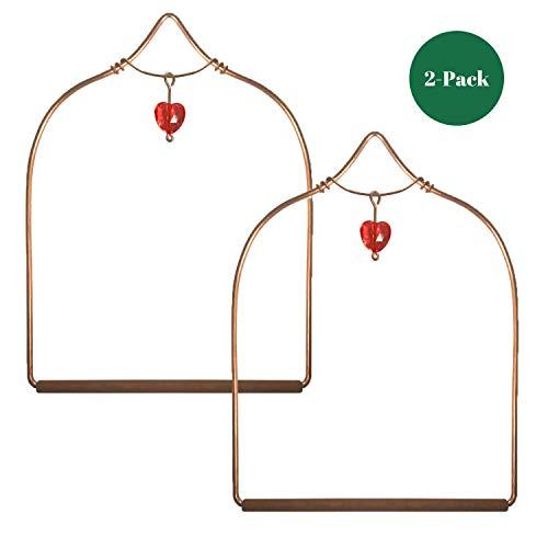 2-Pack Pop's Copper Hummingbird Swing with Heart Jewel