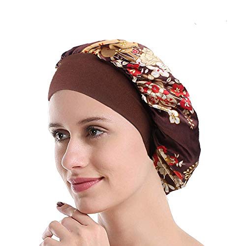Funcl Womens Sleep Night Cap Wide Band Satin Bonnet for Hair Beauty,Hair Care Cap,Chemo Beanie,Curly Springy Hair