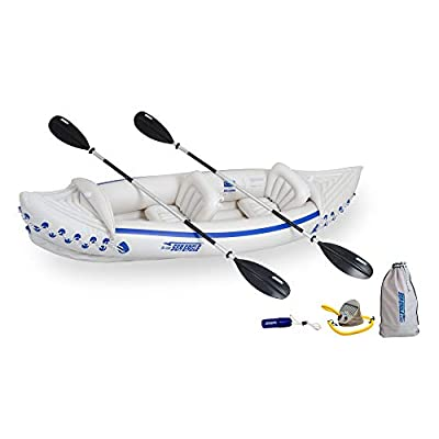 Sea Eagle 330 Deluxe 2 Person Inflatable Sport Kayak Canoe Boat w/ Pump & Oars