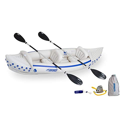 Sea Eagle 330 Deluxe 2 Person Inflatable Sport Kayak Canoe Boat w/ Pump & Oars