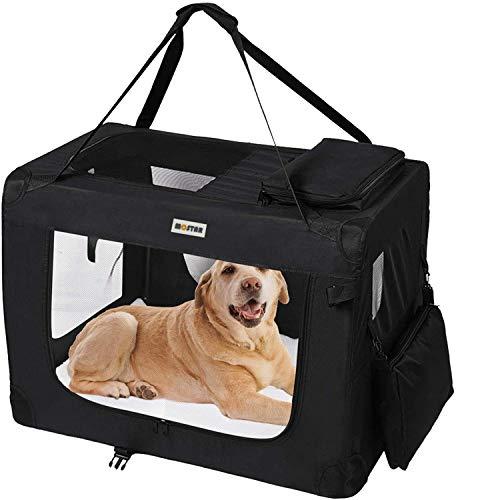 Heart Belong Hunde Transportbox Hundebox faltbar Reisebox Transporttasche für Haustiere, weiche Seitenteile, Schwarz- M
