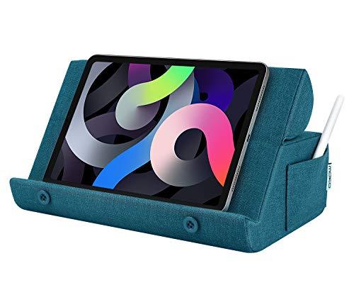 """MoKo Soporte de Almohada Plegable para Tableta/Móvil, Algodón y Lino Suave, hasta 12,9"""", Compatible con iPad Pro 12.9 5ª, iPad 10.2, Air 4/3, iPad Pro 11/12.9 5ª, Galaxy Tab S7 - Azul Pavo Real"""