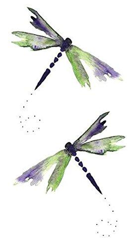 SanerLian Set of 5 Waterproof Temporary Fake Tattoo Stickers Watercolor Dragonfly Green Purple