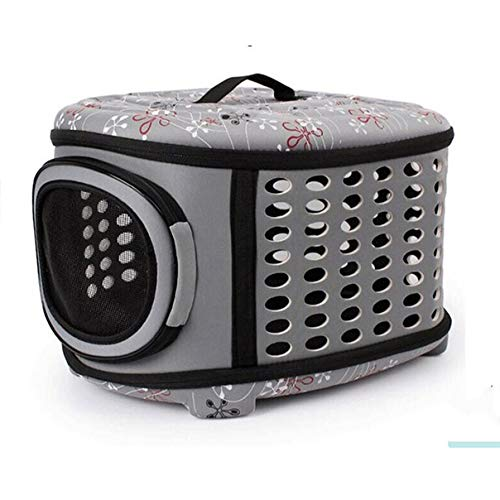 CHUANG TIANG Pet Hard Cover Collapsible Cat Carrier, Pet Travel Kennel with Top Load Foldable Feature for Cats Small Dogs Puppies & Rabbits,Gray