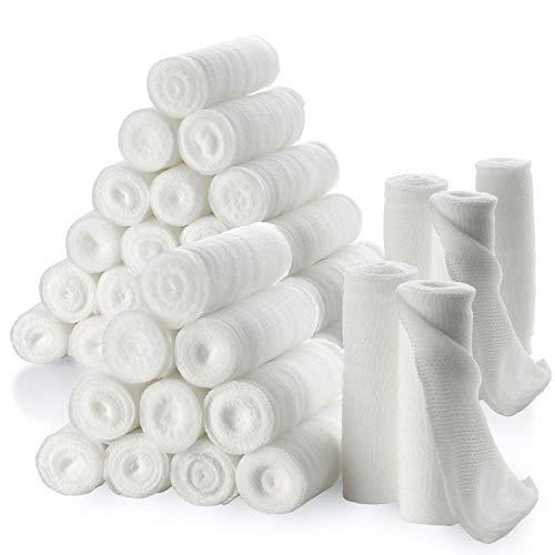 """Rotoli di benda di garza - confezione o 36, 3\"""" x 4,1metri per rotolo di benda di garza di grado medico e bendaggio estensibile per medicazione di tutti i tipi di ferite kit di pronto soccorso di MEDca"""
