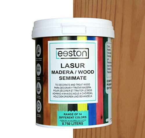 Pintura lasur para maderas, tratamiento para exterior e interior, fácil aplicación y limpieza gracias a su base al agua, acción protectora a largo tiempo, 14 colores (0,75 L, Castaño)