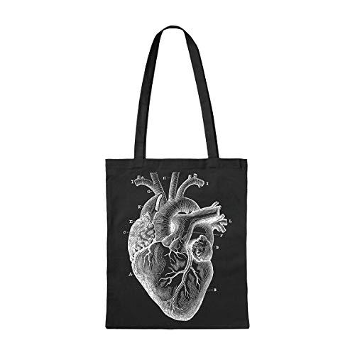 Miss MIserable Tote bag militare con un cuore anatomico Tote bag in cotone biologico, unisex, adulto, nero, unico