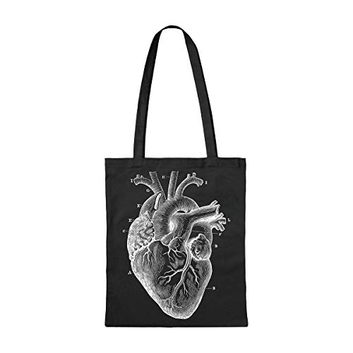 Milimetrado Tote Bag con un corazón anatómico Tote Bag de algodón orgánico,...