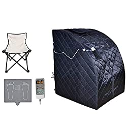 ZONEMEL Oversize Portable Far Infrared One Person Sauna, Home Spa Detox Therapy, Heated Floor Pad, Upgrade Chair (Black)