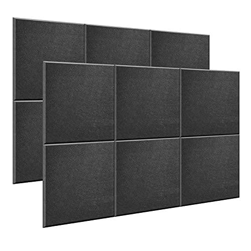 AGPtEK Panel Acústico, 12 Paneles de Absorción Acústica 30 * 30 * 1 cm Paneles de Aislamiento Acústico de bordes biselados, de Alta Densidad, excelentes para el hogar y oficinas-Color negro
