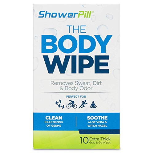 The Body Wipe by ShowerPill - No Shower Wipes for Adults for Post-Workout or Camping Bathing - Pack of 10 Individually Wrapped Wipes