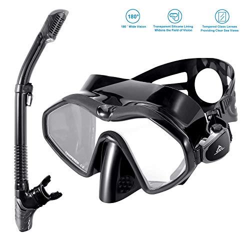 SKL Schnorchelset Taucherbrille für Erwachsene Professionelle Schnorchelbrille Erwachsene Volle Trockene Schnorchel Tauchmaske Gehärtetes Glas