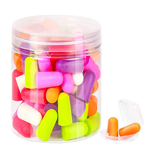 Ultra Soft Foam Earplugs,50 Pair with Portable Box,Noise Reduction Hearing Protector,Ear Plugs for Sleeping, Snoring, Loud Noise, Traveling, Concerts, Woodworking,Shooting,Studying,32dB SNR,7 Color
