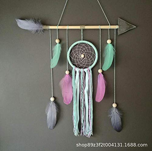 Dreamcatcher,Bohemian Handmade Bow And Arrow Green Single Ring Lace Pink Feather Wall Hanging Decorations For Kids Room Home Decoration Ornaments Craft Gift