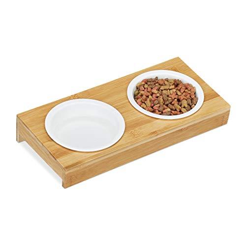 Relaxdays Doppelnapf, Katzen & kleine Hunde, 2 x Keramik Napf, je 200 ml, spülmaschinenfest, Bambus Napfbar, Natur/weiß