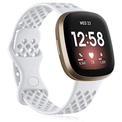 Oielai Armband Kompatibel mit Fitbit Versa 3 Armband/Fitbit Sense Armbands, Soft Silikon Sport Ersatzband Kompatibel für Fitbit Versa 3/Fitbit Sense, Frauen Männer Groß Weiß