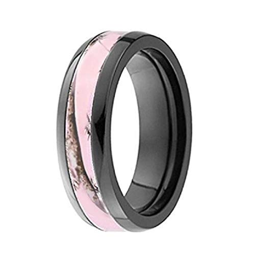 Pink Camo Ring - Pink Camo Band - Engagement Ring - Wedding Rings - Promise Rings for Couples - Camo Wedding Ring - Camo Wedding Rings - Camo Rings for Women (8)