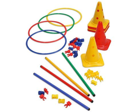 Betzold 42093 - Bewegungsbaustelle für Kinder - Kegel Reifen Stangen - für Kindergarten und Krippe