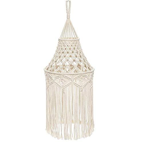 Tejida a mano de Pantalla Macrame Tapiz, Cuerda algodón hecho a mano Sombra Luz pendiente de la lámpara colgante de la decoración de la borla de tejer en telar de techo colgante cubierta de la luz
