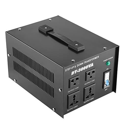 Transformador convertidor de regulador de voltaje Qiterr 3000VA 220v a 110V paso arriba/abajo (enchufe de la UE)