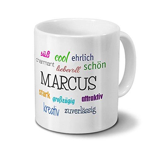 printplanet Tasse mit Namen Marcus - Positive Eigenschaften von Marcus - Namenstasse, Kaffeebecher, Mug, Becher, Kaffeetasse - Farbe Weiß