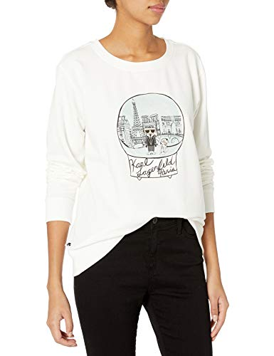 Karl Lagerfeld Paris Damen Snowglobe Sweatshirt T-Shirt, Weiß (Soft White), Groß