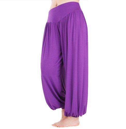 HOEREV Marke Super weiche Modal Spandex Harem Yoga Pilates Hosen, Gr.-XX-Large,Lila
