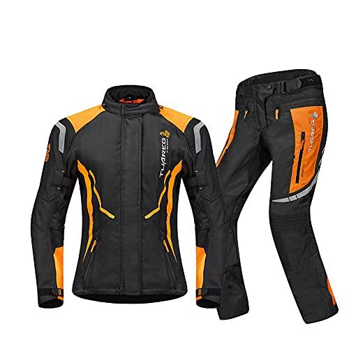 ZDSKSH Traje De Motorista Mujeres Chaqueta Moto Scooter Pantalones - con Protecciones CE Impermeable/Cortaviento Apta para Viajes En Moto