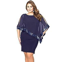 Blue Sequins Shawl Large Size Cocktail Mini Dress