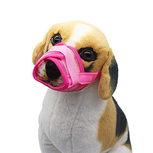 YAODHAOD Nylon Mesh Breathable Dog Mouth Cover, Quick Fit Dog Muzzle with Adjustable Straps,Pet Mouth Cover, to Prevent Biting and Screaming to Prevent Accidental Eating (L, Pink)