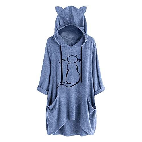 SHOBDW Mujer Encapuchado Largo 2021 El Nuevo Otoño Orejas de Gato Básico Suéter Oversize Girasol Bolsillo Cordón Moda Casual Pullover Jerseys Blusas Tops Talla Grande XL-5XL(Azul,XXL)