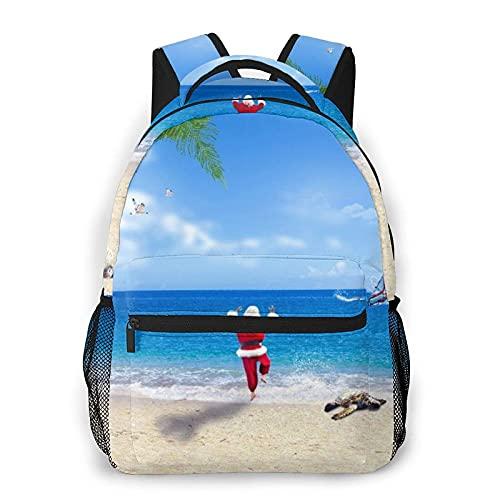 Mochila, surf navideño, globo aerostático, delfín, faro, reno, santa, tortuga, caracola, silla de playa, palmera, todas las estaciones, unisex, de gran capacidad, duradero, para la escuela, al aire