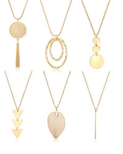Fesciory 6 PCS Long Pendant Necklace for Women, Gold Bar Circle Leaf Triangle Tassel Y Necklace Set for Girls(Set 2)