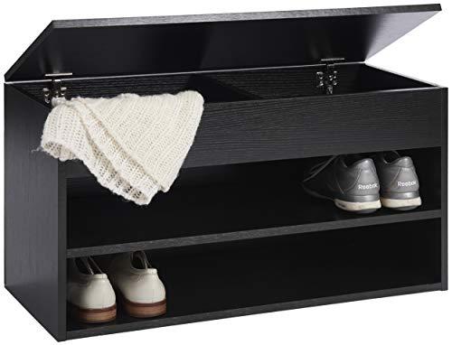 ts-ideen Banco Zapatero Cofre de Pasillo 80x42 cm con 2 estantes y Compartimento Interno. Negro