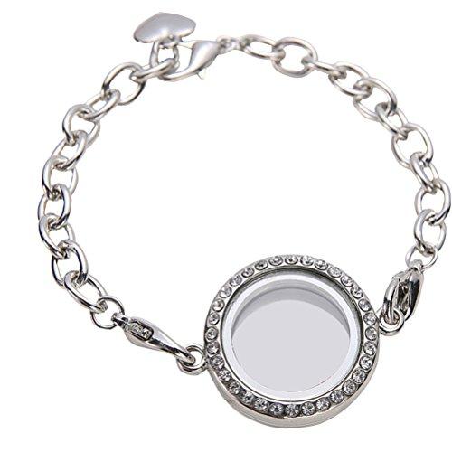 LUOEM Armband, schwebendes Medaillon, Glas, Vintage, Geschenkidee, zauberhaft, Weiß K