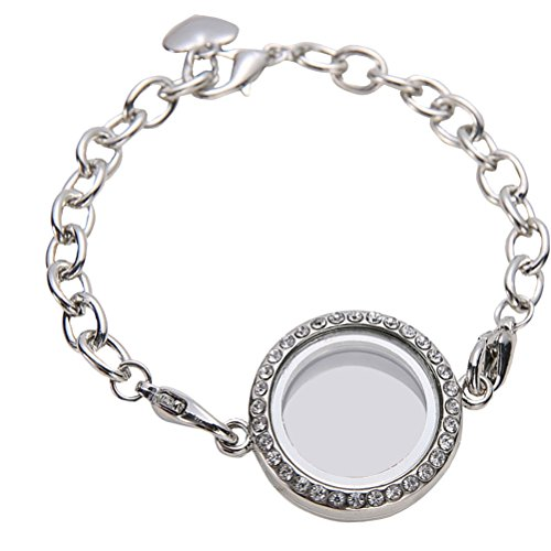 LUOEM Schwimmende Medaillon Armband Crystal Living Memory Medaillon Armband Schmuck für schwimmende Charms Geschenk (weiß K)