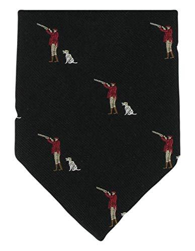 Michelsons of London Noir Gun Man & Gun Dog soie cravate de