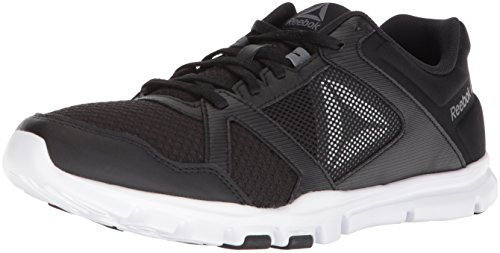 Reebok Men's Yourflex Train 10 Mt Cross Trainer, black/white/alloy, 10 M US