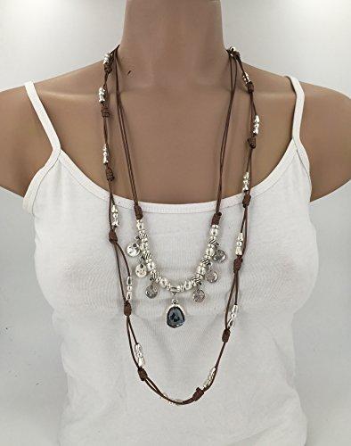 Collar hecho a mano de hilo encerado, Collar zamak, collar estilo uno de 50, collar boho, collar cuero