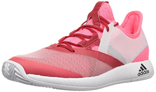 adidas Women's Adizero Defiant Bounce Tennis Shoe, Flash red/White/Scarlet, 9.5 M US