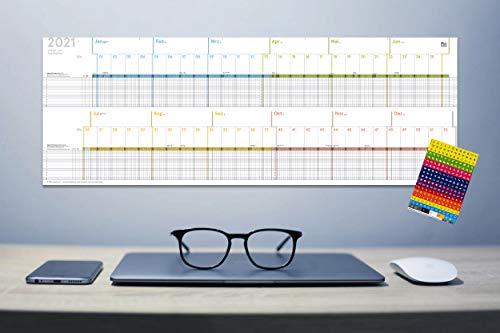 Urlaubs- und Projektplaner 2021, A4-Leporello, gefaltet, 30 x 84 cm, für 10 Personen