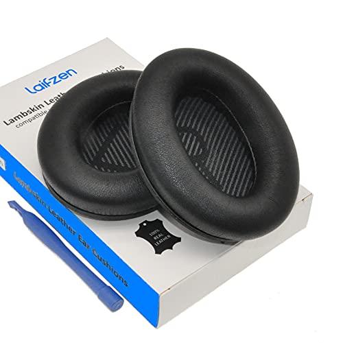 Almohadillas de piel de cordero para auriculares Bose QuietComfort QC 35 II QC35ii QC35 QC25 QC15 QC2 AE2 AE2i AE2w SoundLink SoundTrue 35ii 25 15 2 (negro)