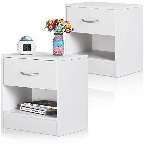 Deuba Nachttisch 2er Set Schublade mit Griff Ablagefach 41x39x28cm Holz Nachtkommode Nachtkonsole Nachtschrank - Weiß
