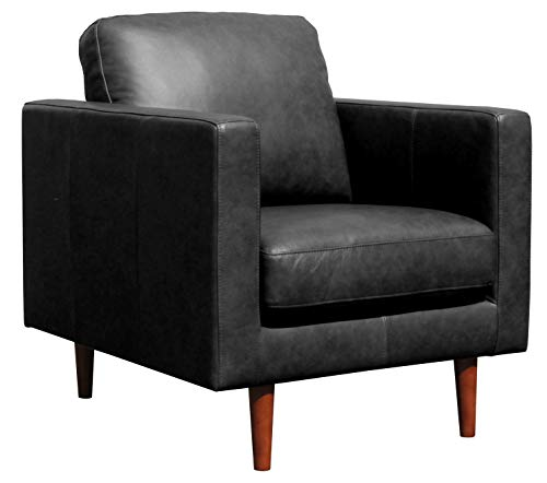 Amazon Brand – Rivet Revolve Modern Leather Armchair with Tapered Legs, 33'W, Black