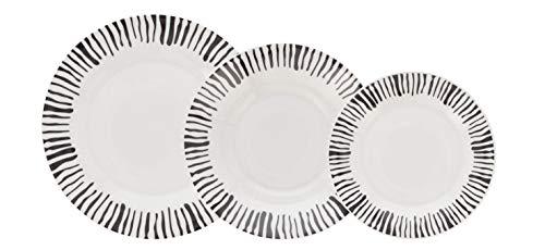 Quid Bengala Vajilla de porcelana para 6 personas, 18 piezas, Blanca con ala decorada,