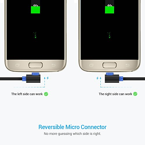 SUNGUY Micro USB Kabel Kurz [0.3M 2Stück] 90 Grad Winkel Schnellladekabel Datenkabel für Samsung Galaxy S6, S7, Note 4, Moto G5 Plus,Huawei,Nokia - Schwarz
