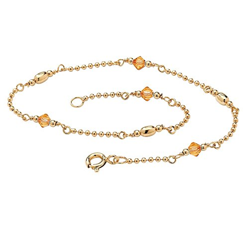14K Yellow Gold over Sterling Silver Simulated Birthstone Ankle Bracelet (2mm), 11 inches Month 11