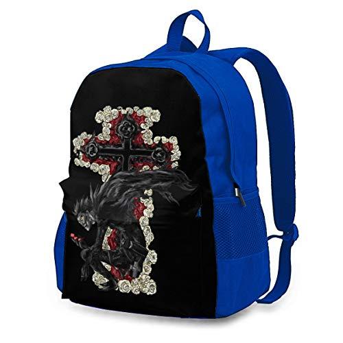LIIREN Casual Laptop Backpack for Men Women Blue Backpack Ryuk Death Note