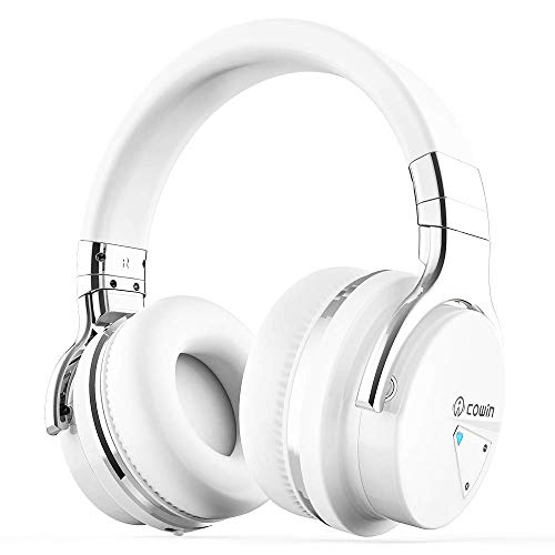 COWIN E7 Active Noise Cancelling Bluetooth Headphones with Microphone Hi-Fi Deep Bass Wireless Headphones Over Ear, Comfortable Protein Earpads, 30 Hours Playtime for Travel Work TV Computer (White)